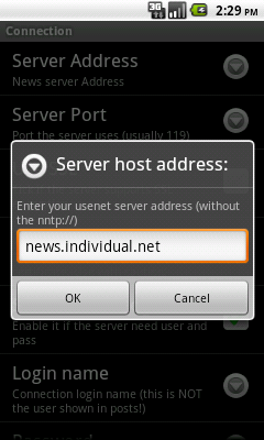 Settings: Server host address