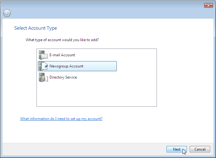 Wizard: Account Type - Newsgroup Account